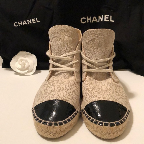 CHANEL Shoes - Chanel high-top cap toe espadrille sneakers